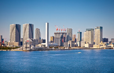 Wall Mural - Panoramic view on Tokyo city from Sumida river, Japan.