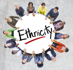 Group of People Holding Hands Around Letter Ethnicity
