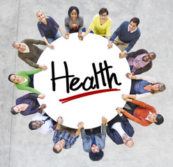 Group of People Holding Hands Around Letter Health