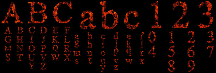 Conceptual hot red fire flame font