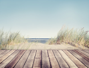Beach and Wooden Plank