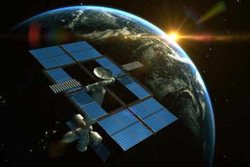 Fototapete - Space Station is orbiting around the Earth