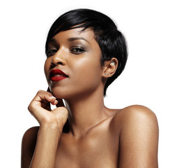 beaty black woman with red lips