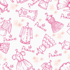 Vector pattern with hand drawn clothes for girls