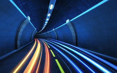 Fototapeta Light strips in the tunnel.