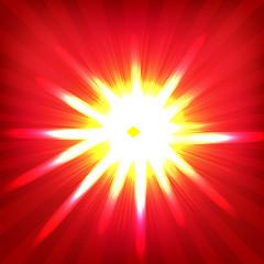 Red Sunburst Poster