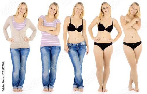 Frau bekleidet und unbekleidet