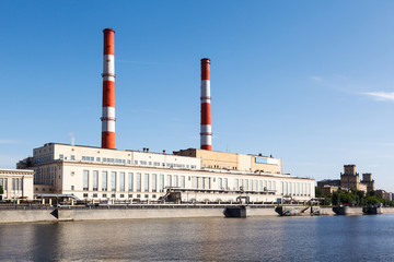 Power station at embankment of Moskva River