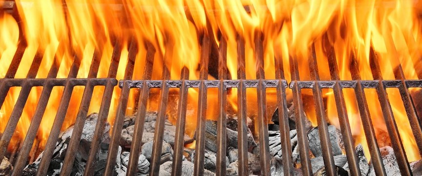 Fire Flames and Hot Empty  BBQ Grill