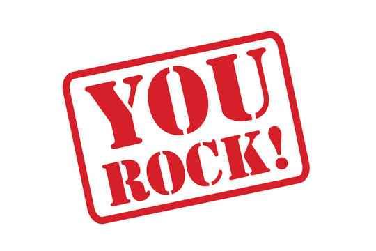 YOU ROCK! red Rubber Stamp vector over a white background.