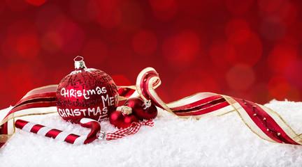 Weihnachtskarte rote Kugeln
