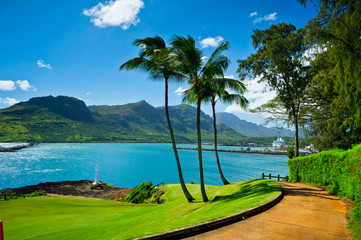Beautiful view of Nawiliwili, Kauai Island, Hawaii, USA