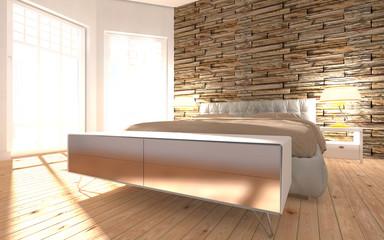 Schlafzimmer möbliert mit zwei Fenstern