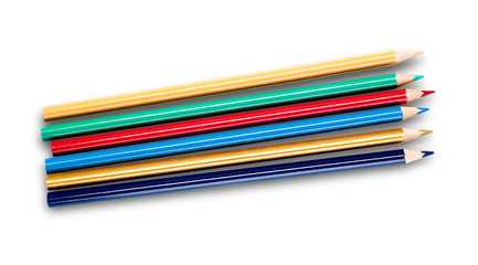 Multi-colored pencils isolated on white