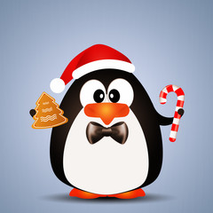 Penguin with Candy cane for Christmas
