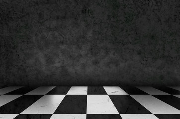chess background interior in a dark room and moss on wall