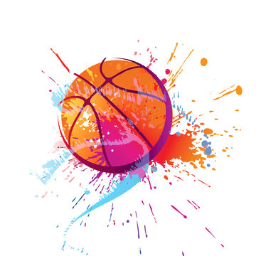 Colorful basket ball with spots and sprays on a white background