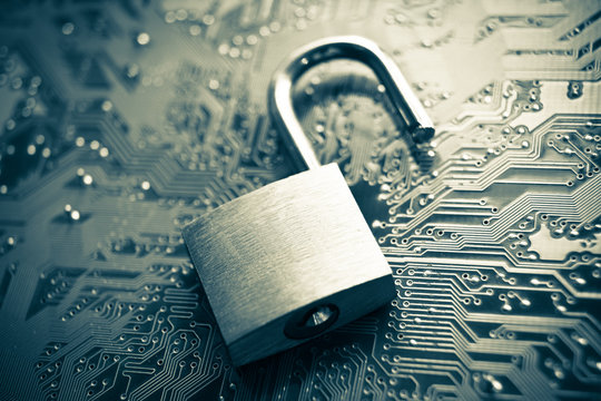 security lock on computer circuit board
