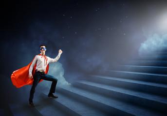 Superman on ladder