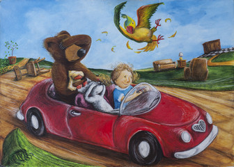 girl with her toys in speeding car