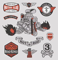 Hot rod engine motor graphic set