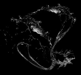 Water splashes on black background