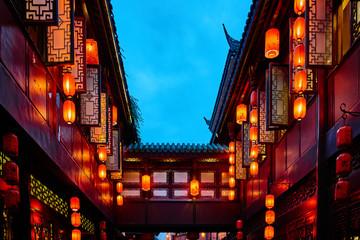 Foto auf Acrylglas China Jinli Pedestrian Street Chengdu Sichuan China