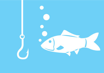 Fishing hook with fish.