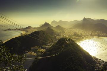 Sun light behind Mountains in  Rio de Janeiro, Brazil