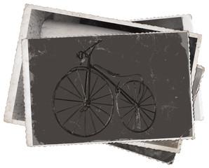 Fototapete - Vintage photos Old wooden bicycle