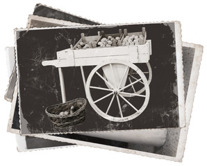 Vintage photos Cart with apples