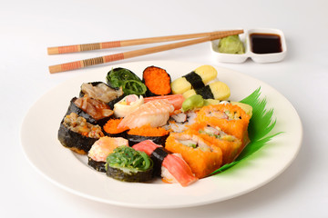 Set of Sushi Roll Japanese food and Chopsticks