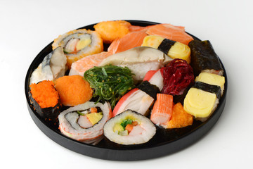 Set of Sushi Roll Japanese food on wood tray