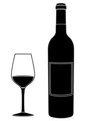 silhouette d'un verre et d'une bouteille de vin