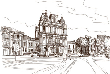 Vector drawing of central street of old european town Vilnius