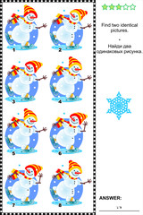 Visual puzzle - find two identical pictures - skating snowmen