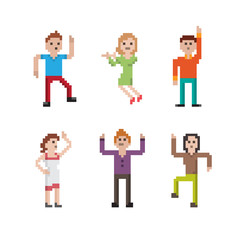 Collection of funny pixel art dancing people in different poses