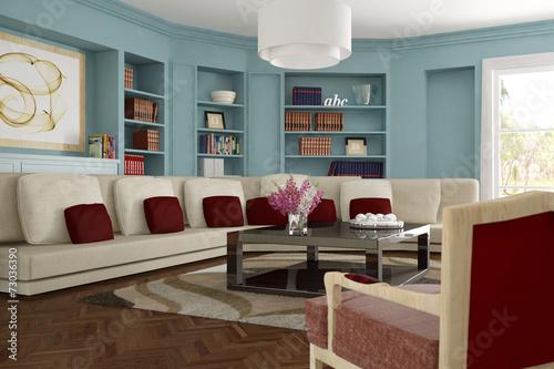wohnzimmer mit sofa und teppich stockfotos und lizenzfreie bilder auf bild 73036390. Black Bedroom Furniture Sets. Home Design Ideas