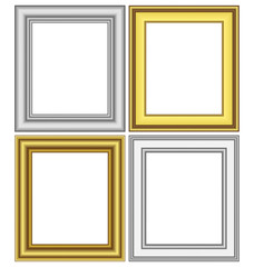 Set of golden and silver frames isolated on white