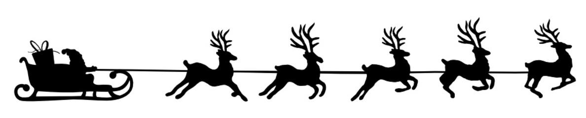 Elche Schlitten Weihnachtsmann