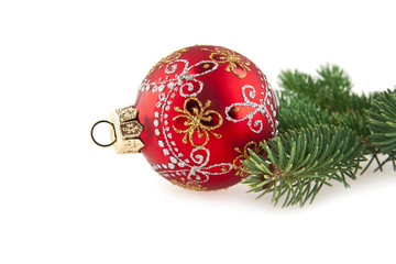 christmas decorations and branch of fir-tree