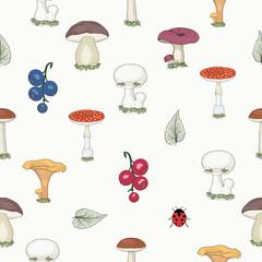 hand drawn forest mushrooms seamless pattern