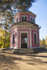Front view of pavilion in autumn park