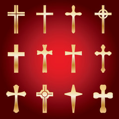 Set of Gold Crosses