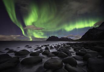 Foto op Plexiglas Noorderlicht Aurora beach