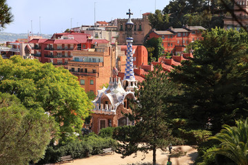 BARCELONA, SPAIN - JULY 8: The famous Park Guell on July 8, 2014