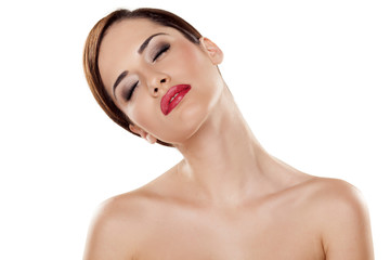 tired young woman stretch her neck