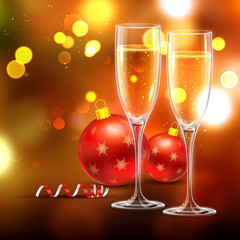 Wine glass with Christmas ball