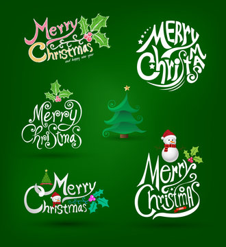 Christmas Greeting Card set. Merry Christmas lettering,