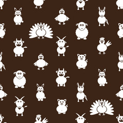 farm animals simple icons seamless pattern eps10